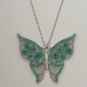 Jewelry - 🦋RESTOCKED❣️Green butterfly cz silver necklace